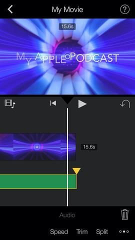 Con la pista de audio seleccionada, arrastre el triángulo amarillo a desaparecer el audio.