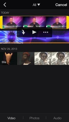 Añadir un vídeo en la parte superior si el vídeo. Seleccione el icono de los medios de comunicación, seleccionar un vídeo, y los tres puntos.