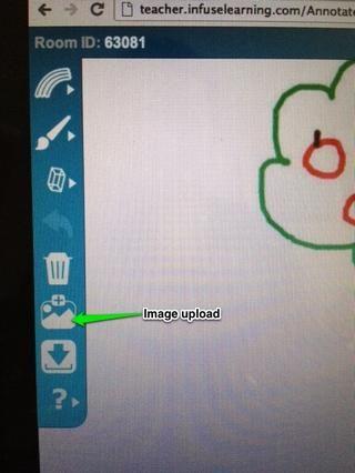 Profesor Vista: El icono de carga de imágenes en la barra de herramientas InfuseDraw permite que las imágenes (en la actualidad ordenador sólo *) para ser subidos a la plataforma InfuseDraw.