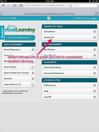 Profesor Ver: Una vez que los estudiantes se conectan a su habitación, seleccione InfuseLink publicar un enlace a los dispositivos de los estudiantes conectados.
