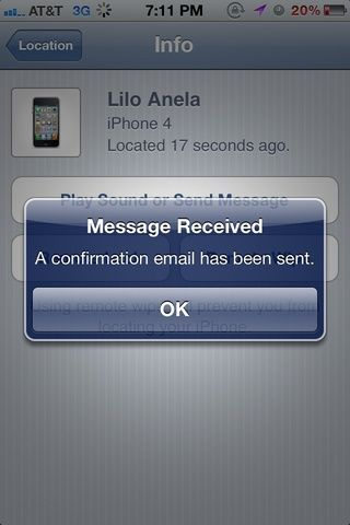 Se le enviará un correo electrónico confirmando que un mensaje ha sido enviado al dispositivo.