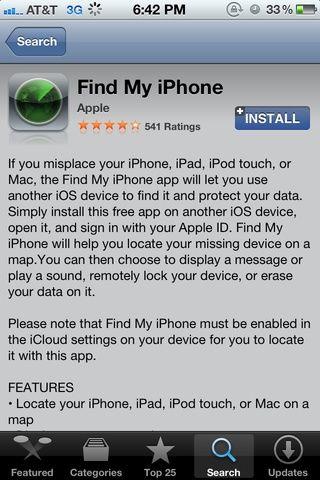 En otro dispositivo iOS, buscar y descargar el programa gratuito Find My aplicación IPHONE.