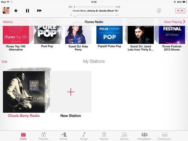 Ahora iTunes eligió algunos artistas y canciones basadas en mi selección, y generó una nueva estación de radio que me guste.