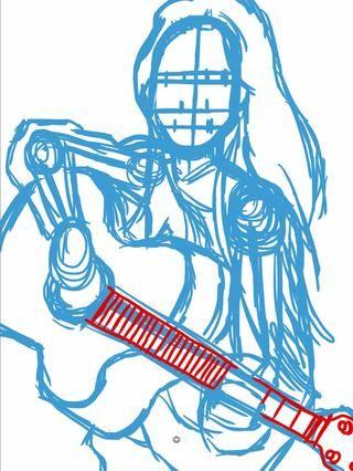 En mi primera capa utilizo la herramienta de lápiz para un boceto de color azul claro. Considere esto el esqueleto de la figura. Las cuerdas de la guitarra son el rojo para evitar confusiones.