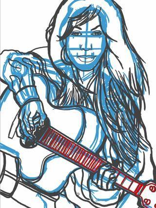 Siguiente creo una nueva capa y arrastre en la parte superior de la primera. Yo llamo a esto la capa de grafito. Yo trabajo hasta los detalles de la figura y la guitarra. El dibujo está todavía suelto pero detallada.