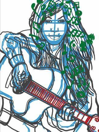 Ahora creo una nueva capa y moverlo a la parte superior. El personaje tiene la hoja de música del cabello por lo que esta capa superior se reserva para las líneas y las notas en el pelo.