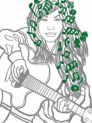 Ahora me dirijo por la opacidad de mi capa de tinta y enciendo el boceto notas musicales. Se crea una capa de tinta para las notas.