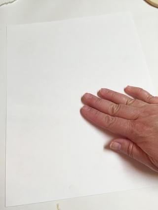 poner papel sobre la placa y alisar suavemente todo el cuerpo con los dedos para transferir tintas.