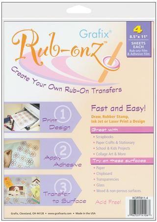 Rub-onz por Grafix puede ser utilizado para hacer tus propias rub-ons rápida y fácilmente.