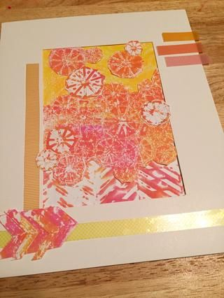 cortar y arreglar trozos de cinta washi Rub-onz al collage.