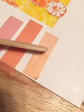 a continuación, aplicar la cinta washi-Rub onz a Mat.
