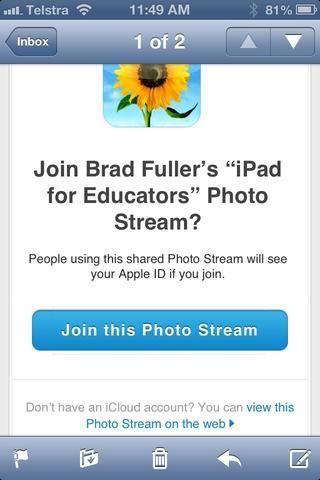 Las personas con las que ha compartido su torrente foto reciben una invitación por correo electrónico y se puede ver en su dispositivo o en una Mac o PC.