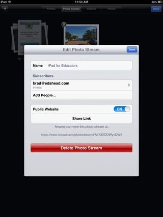 Toque en Editar en la esquina superior derecha para cambiar las opciones de uso compartido. También puede copiar un enlace aquí para compartir en su sitio web, blog, LCM etc.