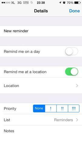 Elegir'Remind me at location'.