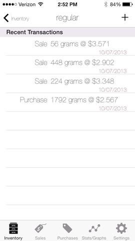 Al hacer clic en un objeto del inventario que la aplicación que lleva a las listas de las últimas transacciones.