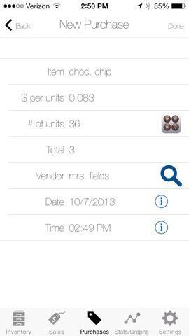 En la nueva pantalla de compra se introduce el número total de unidades y el precio total de la compra. La aplicación calculará automáticamente el precio de compra por unidad. Luego haga clic en el botón de hecho.
