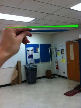 Use un lápiz. Sujete completamente horizontal y paralela a su cuerpo. Cierra un ojo y comparar esta línea horizontal con el techo.