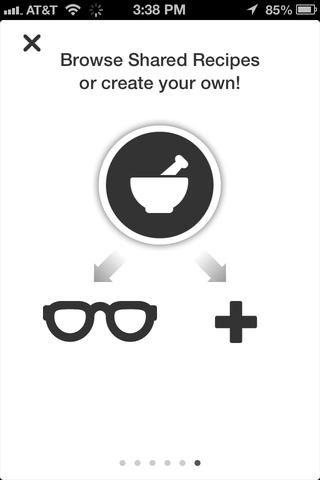 En la aplicación que'll be able to find already made (user created and shared) recipes by tapping the sunglasses. Or you can create your own