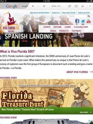 Comparte las noticias sobre el aniversario 500 años a través de VIVA FLORIDA 500! Gran como titular historia!