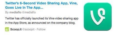 Los 6 segundo clip puede ser compartida onVINE. GORJEO. O FACEBOOK