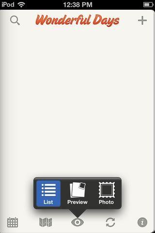 Pulse el icono del ojo para ordenar las entradas por Lista, Vista previa o fotos.