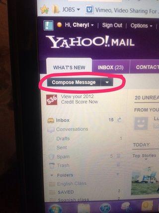Haga click en las palabras Componer Mensaje para comenzar su carta de correo electrónico.