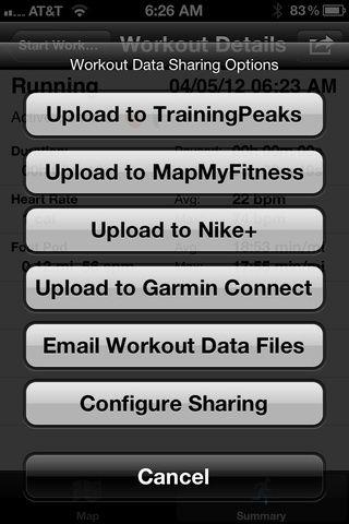 Todos los datos son exportables, la exportación a Nike + y Garmin Connect.