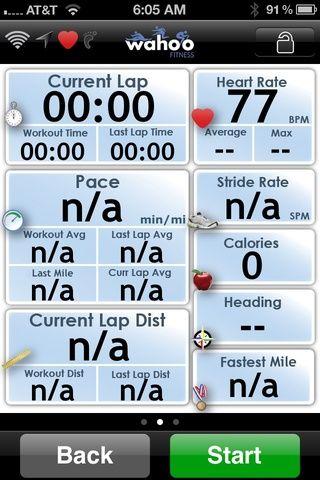 Pantalla de seguimiento Wahoo Gimnasio aplicación