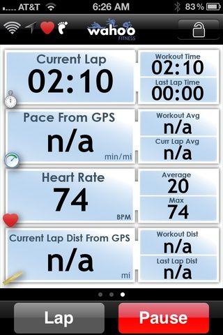 Pantalla de dos, también tenga en cuenta el Wahoo Gimnasio aplicación puede utilizar el GPS para realizar un seguimiento de la distancia si el ciclismo o correr afuera.