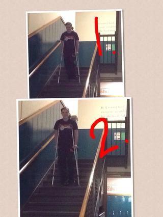 Séptimo paso: Al bajar escaleras. Cuando usted está en su camino de regreso por las escaleras, las muletas van primero y luego la pierna sana. Asegúrese de que usted tome su tiempo bajando demasiado.