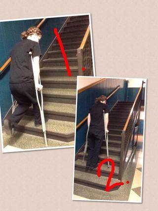 Sexto paso: Subiendo las escaleras. Cuando usted comienza a subir las escaleras recordar su pierna buena sube primero y luego seguido de sus muletas. Sigue repitiendo eso y tómese su tiempo.