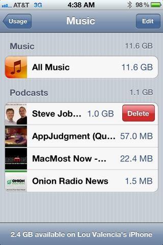 Algunas aplicaciones de Apple permiten deslizar para eliminar elementos individuales.