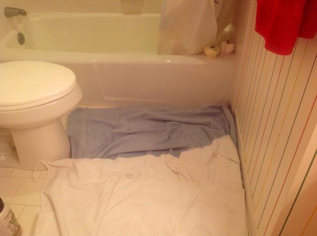 Coloque algunas toallas en el suelo.
