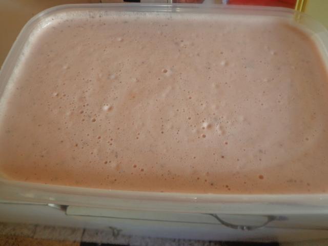 Coloque en un recipiente y congelar 30 minutos hasta que los cristales de hielo se forman alrededor de los bordes. Revuelva los cristales de hielo en el contenedor y luego dejar que se congele aprox. 1 1/2 horas (hasta que esté firme)