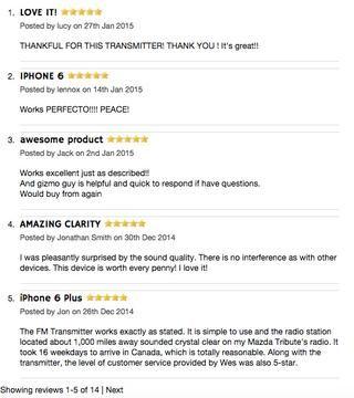 Impresionante Comentarios de clientes