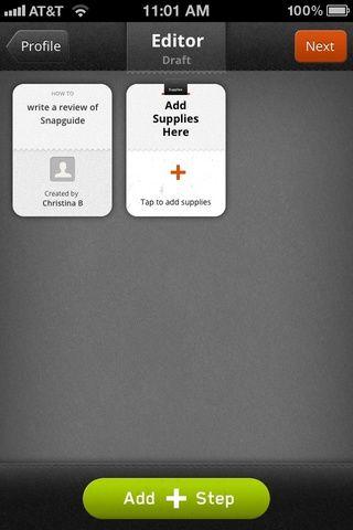 Ahora estás en el editor de guía de instrucciones. Añadir suministros o añadir un paso. Agregue los pasos utilizando texto, foto o video. Seleccione varias imágenes a carga por lotes a su guía, que luego se puede reorganizar. Fácil.