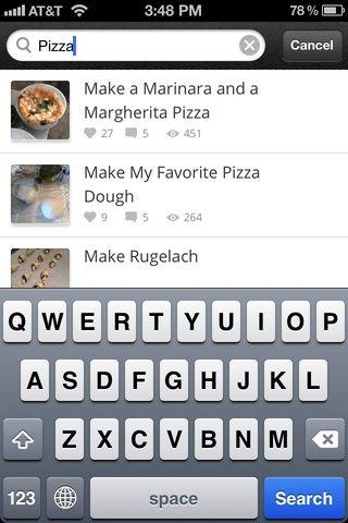 Haga clic en el botón de búsqueda de 'explorar'. Sugerencias contenido aparecen a medida que escribe, una característica visto más comúnmente en la web que en aplicaciones. Muy genial. Buscar hace mejor cuando se busca algo específico.