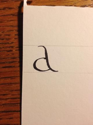 Y listo, usted've made your first calligraphic letter! Tips: be sure to pay attention to nib angle, and once you have begun a stroke move through it quickly to avoid blotching. And practice!