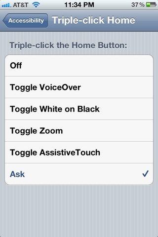 Seleccione Preguntar para permitir diversas opciones de accesibilidad. (Blanco sobre Negro es muy útil para la noche, por ejemplo)