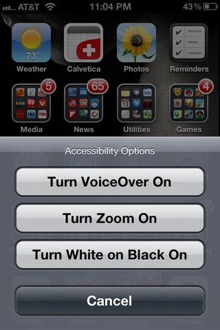 Ajustes de salida. Triple-pulse el botón Inicio y seleccione Activar Acercamiento.