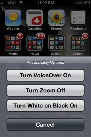 Para desactivar, triple pulse el botón Inicio y seleccione Girar Acercamiento Apagado.