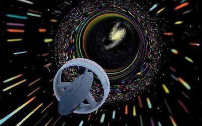 Un artista's rendition of a spaceship traveling at warp speed.