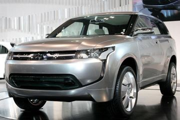 Nuevo Mitsubishi Motors Corp.'s concept plug-in hybrid electric vehicle (PHEV) 'px;MiEV' is displayed during the Tokyo Motor Show at Makuhari Messe in Chiba, Japan.
