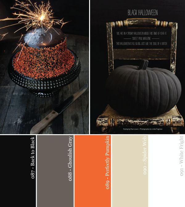 Negro Naranja y Neutro fiesta de Halloween Paleta de colores