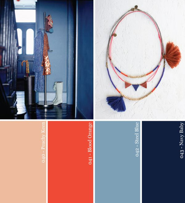 color-paleta partido naranja, cobre y azul marino