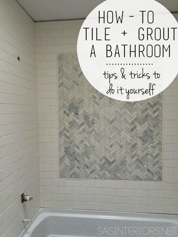 Ideas Makeover Azulejos Cuarto de bricolaje | http://artesaniasdebricolaje.ru/incredible-diy-bathroom-makeover/