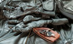 chaqueta de guantes de cuero