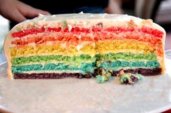 Torta de cumpleaños del arco iris
