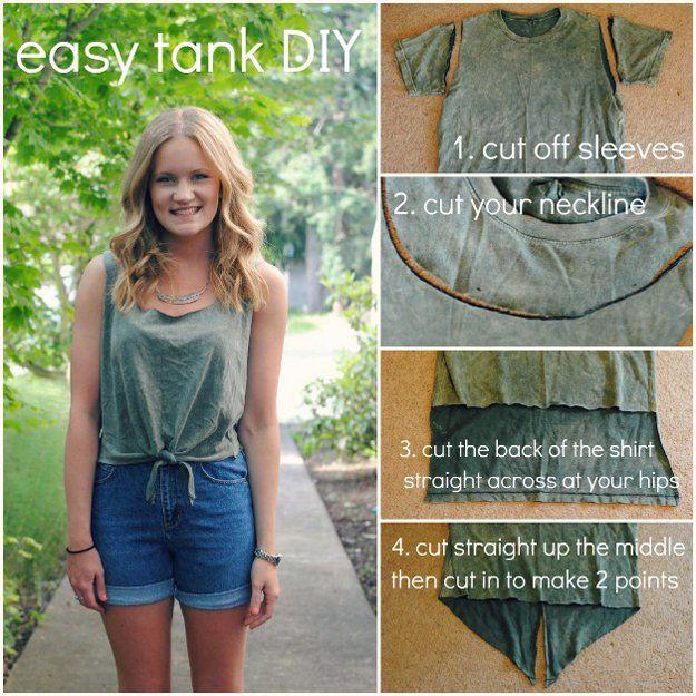 Fácil Tank Top proyecto DIY para Adolescentes | artesaniasdebricolaje.ru/diy-clothes-sewing-blouses-tutorial/