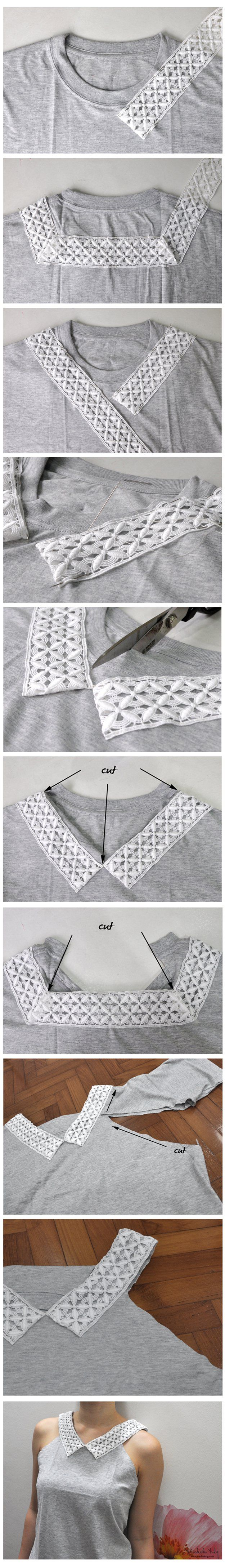 Fácil Top DIY Tutorial del T-shirt | artesaniasdebricolaje.ru/diy-clothes-sewing-blouses-tutorial/